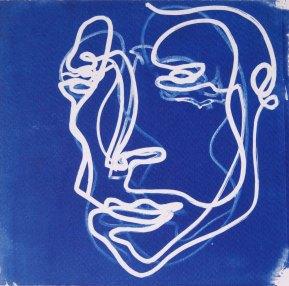 Visage instinctif, dessin sur négatif, 15x15
